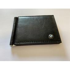 BMW bőr fekete irattartó pénz csipesszel