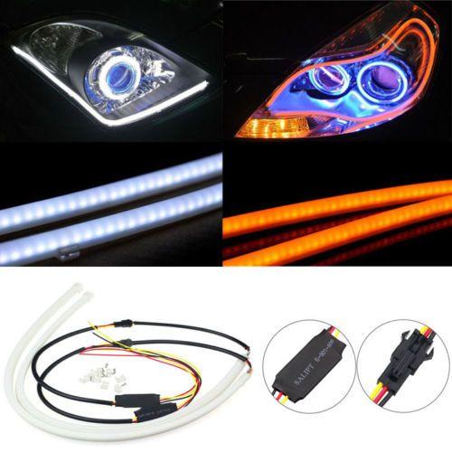 2x 60 cm LED Autó  DRL Nappali Fény Ultra Fehér , Sárga Fényü