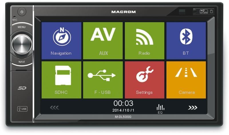 Macrom M-DL5000 2 din méretű multimédiás fejegység+ Navigációs Kártya